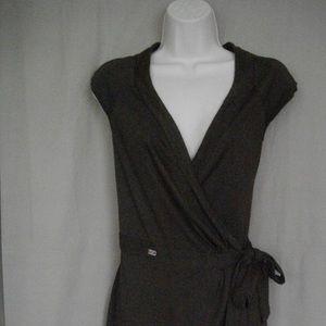 Brown Miss Sixty Wrap Around S Short Sleeve Dress